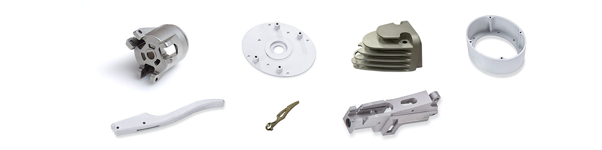 Examples of (left to right) : Aerospace heat sink CNC Machining, Precision Medical Device CNC Machining, Multi axis CNC Machining, Complex Housing CNC Machining, Complex CNC Machining, CNC Machining of Castings