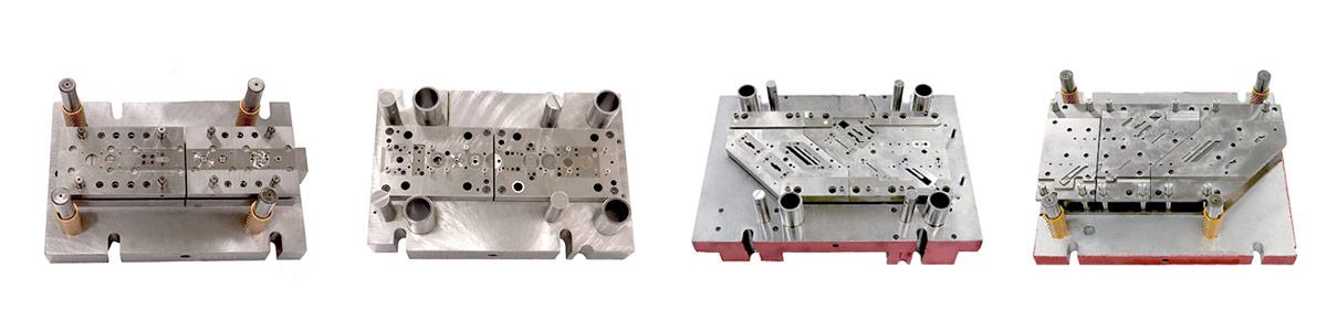 Left to right: Precision Progressive Die, Precision Progressive Die, Precision Progressive Die Medical Device, Precision Progressive Die Medical Device