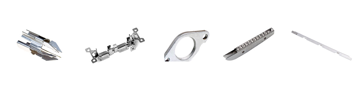 examples of (left to right): Medical device stampings, electrical metal stampings, coining stampings, medical stapling device stampings, electrical vehicle metal stampings